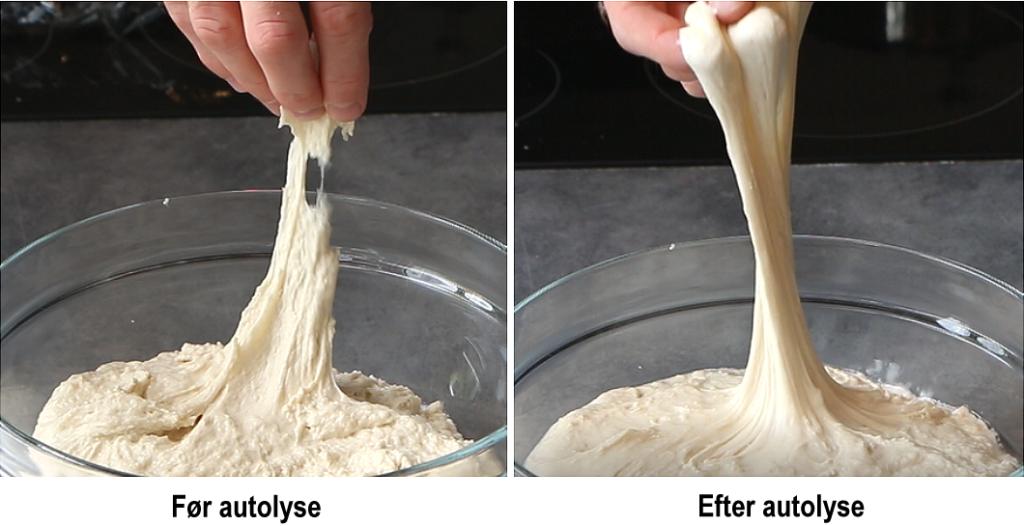 Før og efter autolyse. Før autolyse er dejen usammenhængende. Efter autolyse har dejen udviklet glutennetværk og er blevet sejere i det.