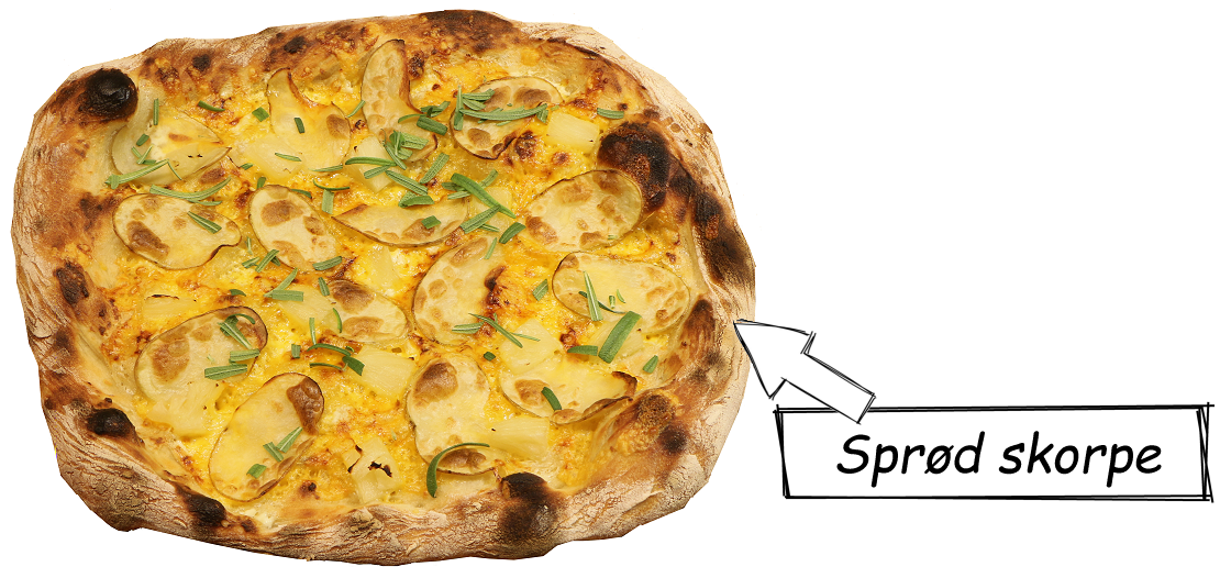 Flot hævet og sprød skorpe på pizza
